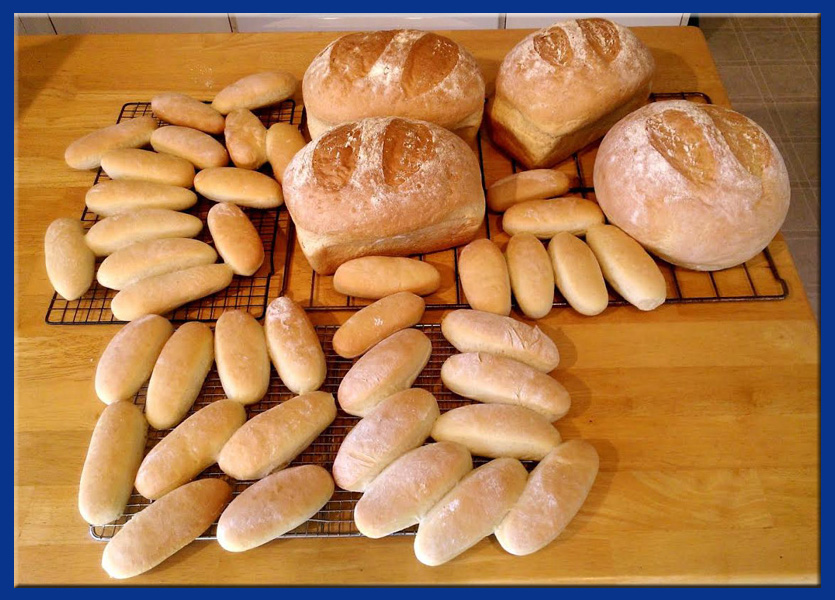 Buns, Rolls and Loaves of White Bread